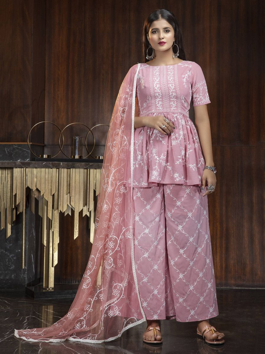 Pink Thread Embroidery Work Festival Wear peplum Salwar Kameez