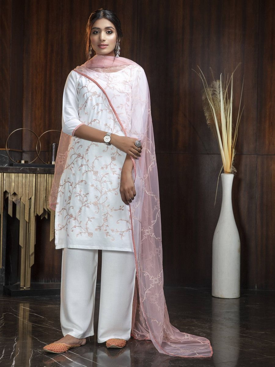 White Thread Work Festival Wear peplum Salwar Kameez With Pink Dupatta