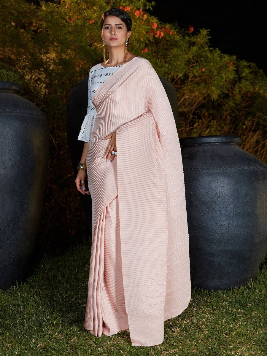 Pink Foil work Silk Party Wear Pleated Saree With Blouse
