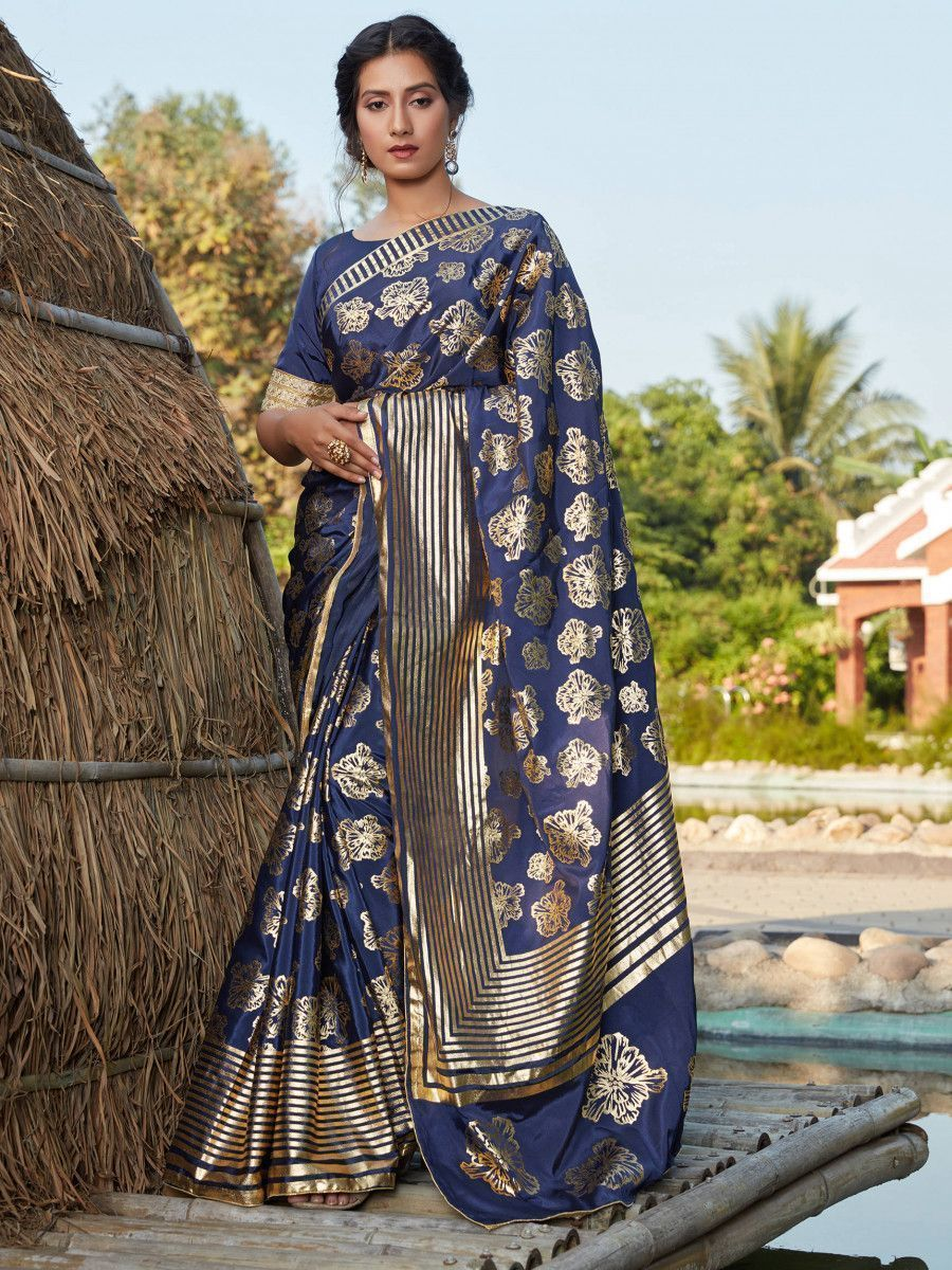 Navy Blue Foil Printed Silk Wedding Wear Saree