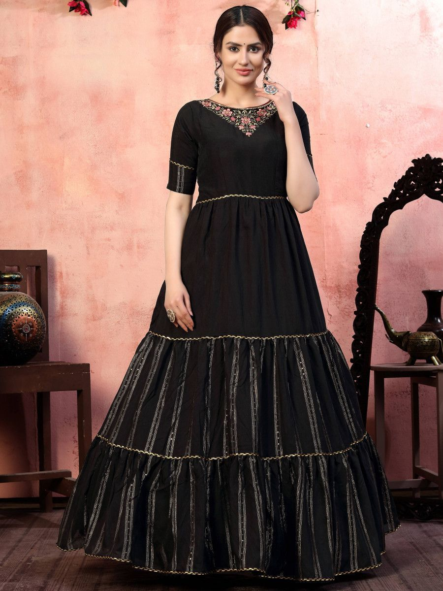 Black Thread Embroidered Silk Party Wear Anarkali Gown