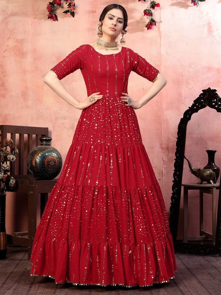 Red Sequins Georgette Party Wear Anarkali Gown