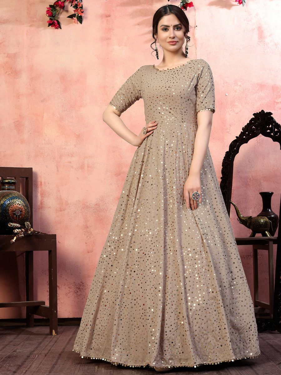 Beige Sequins Georgette Party Wear Anarkali Gown