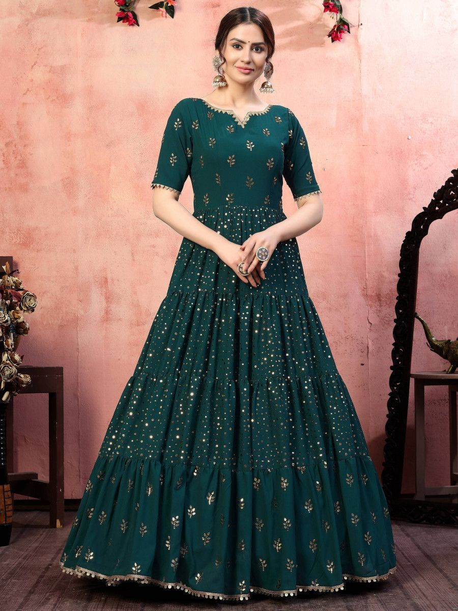 Bottle Green Sequins Georgette Party Wear Anarkali Gown