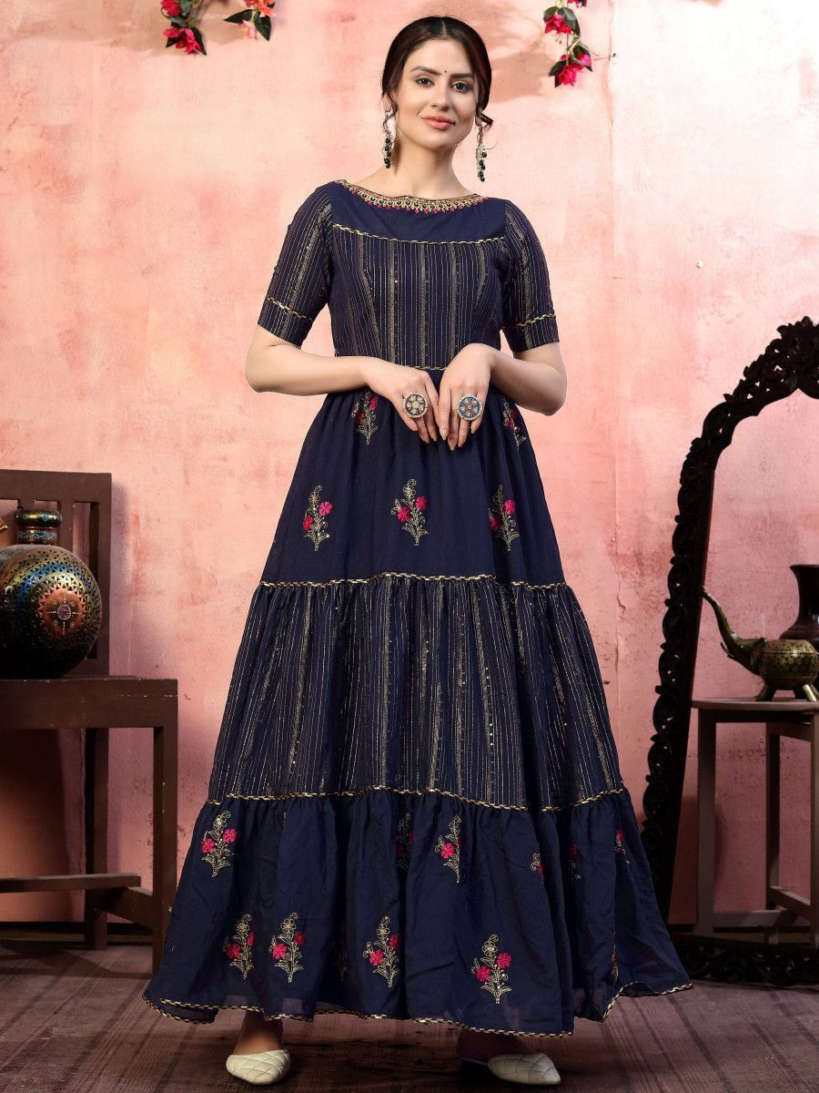 Navy Blue Sequins Silk Party Wear Anarkali Gown