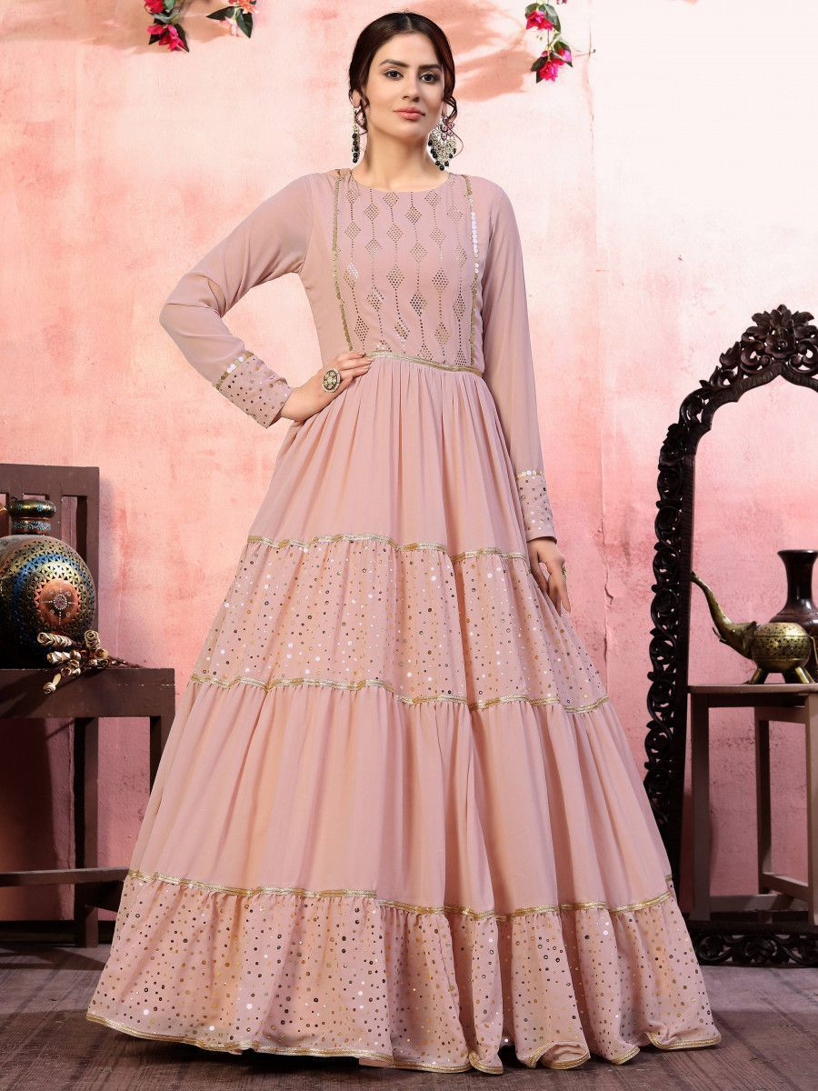 Dusty Pink Sequins Silk Party Wear Anarkali Gown