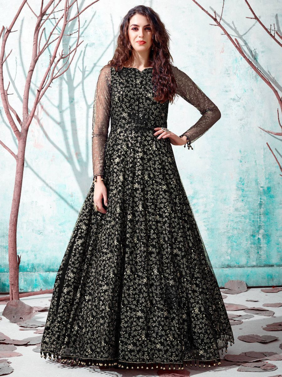 Black Foil Work Net Party Wear Long Gown