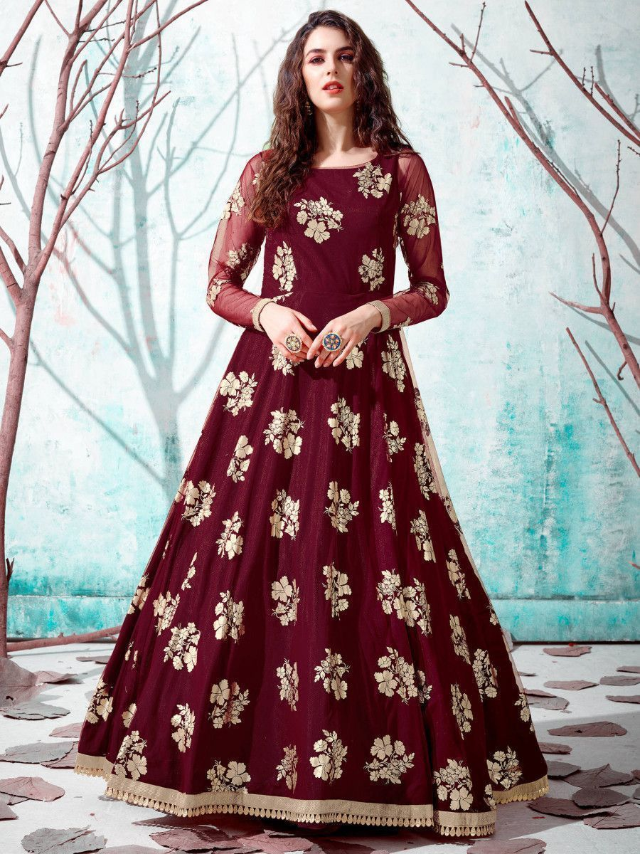 Maroon Foil Work Net Party Wear Long Gown