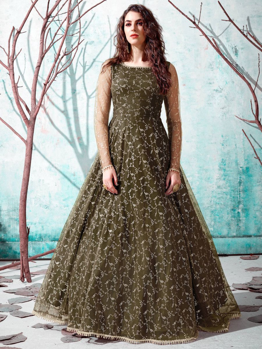 Green Foil Work Net Party Wear Long Gown