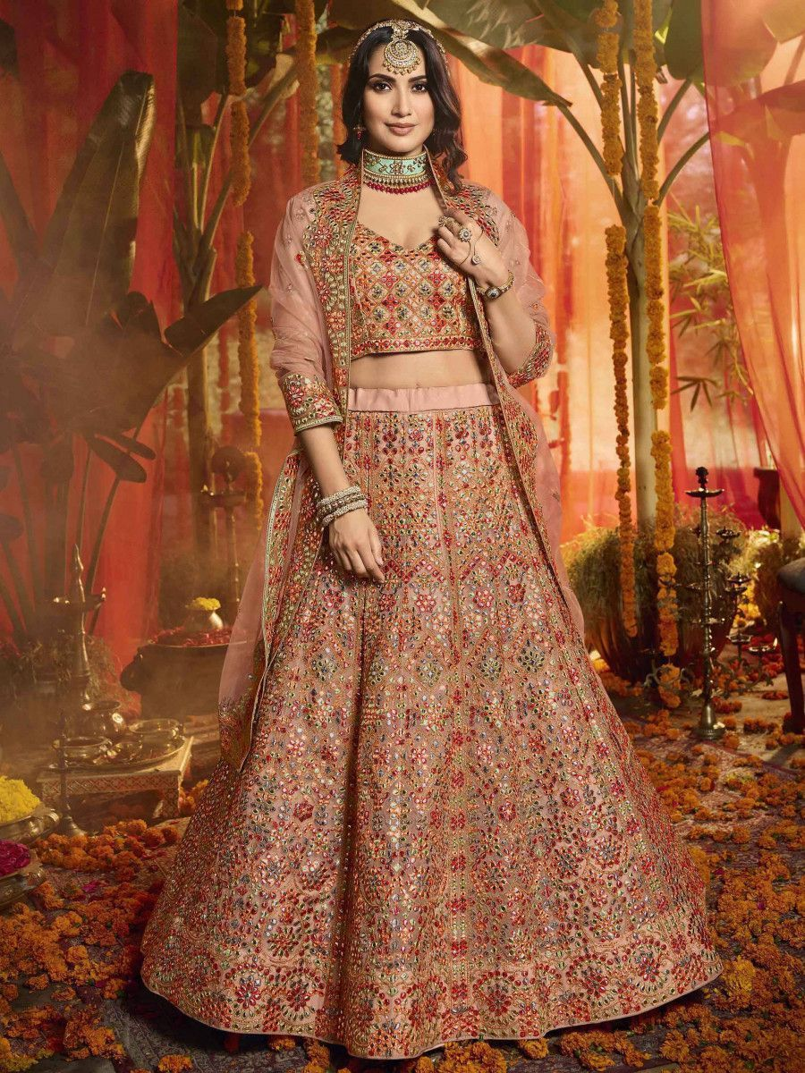 Peach Beads Embroidered Organza Bridal Lehenga Choli