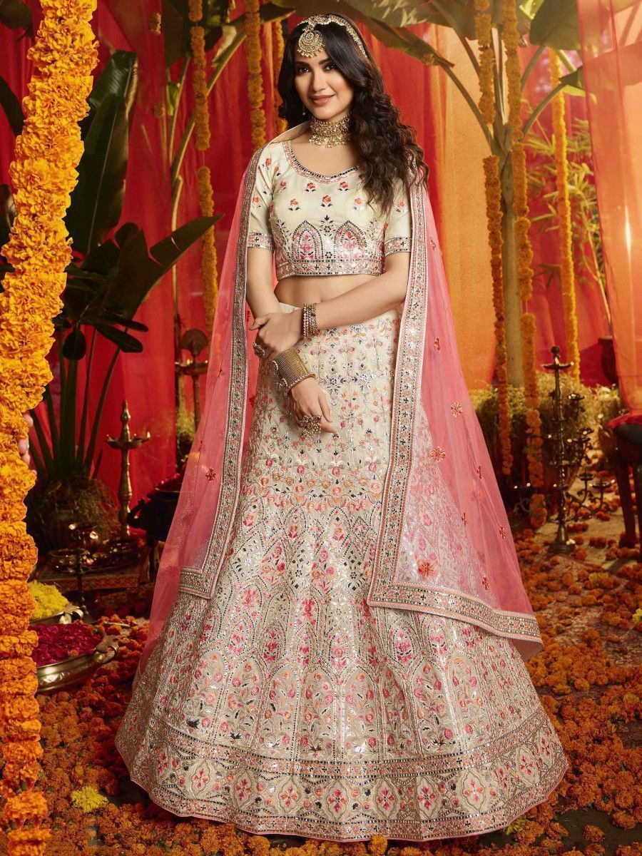 White Zarkan Thread Work Organza Bridal Lehenga Choli