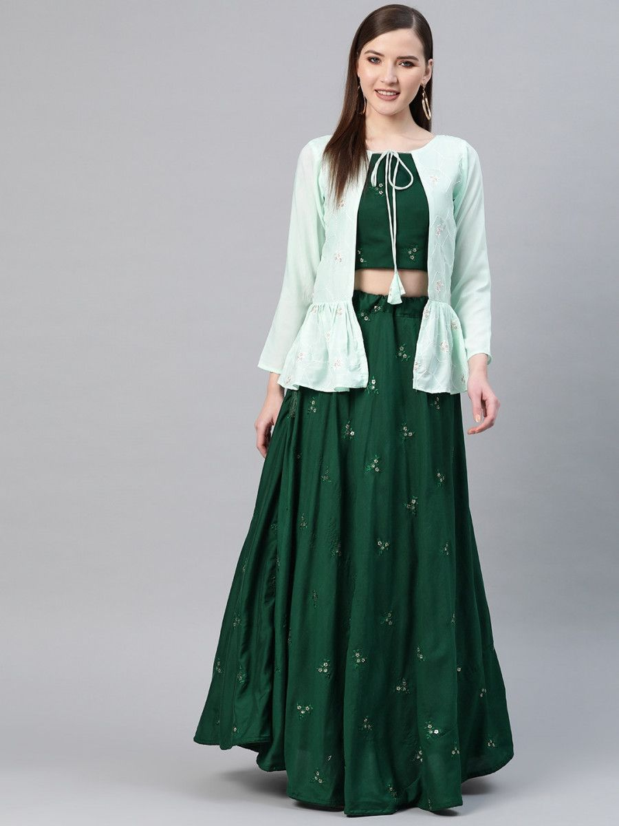 Green Semi-Stitched Myntra Lehenga & Unstitched Blouse with Ethnic Jacket