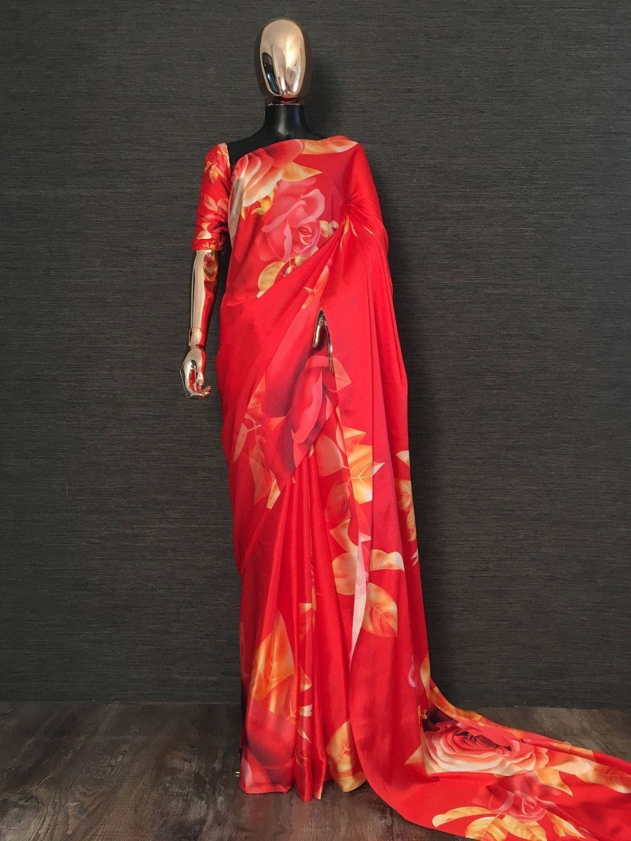 Red Rose Flower Printed Japan Satin Silk Festival Wear Saree
