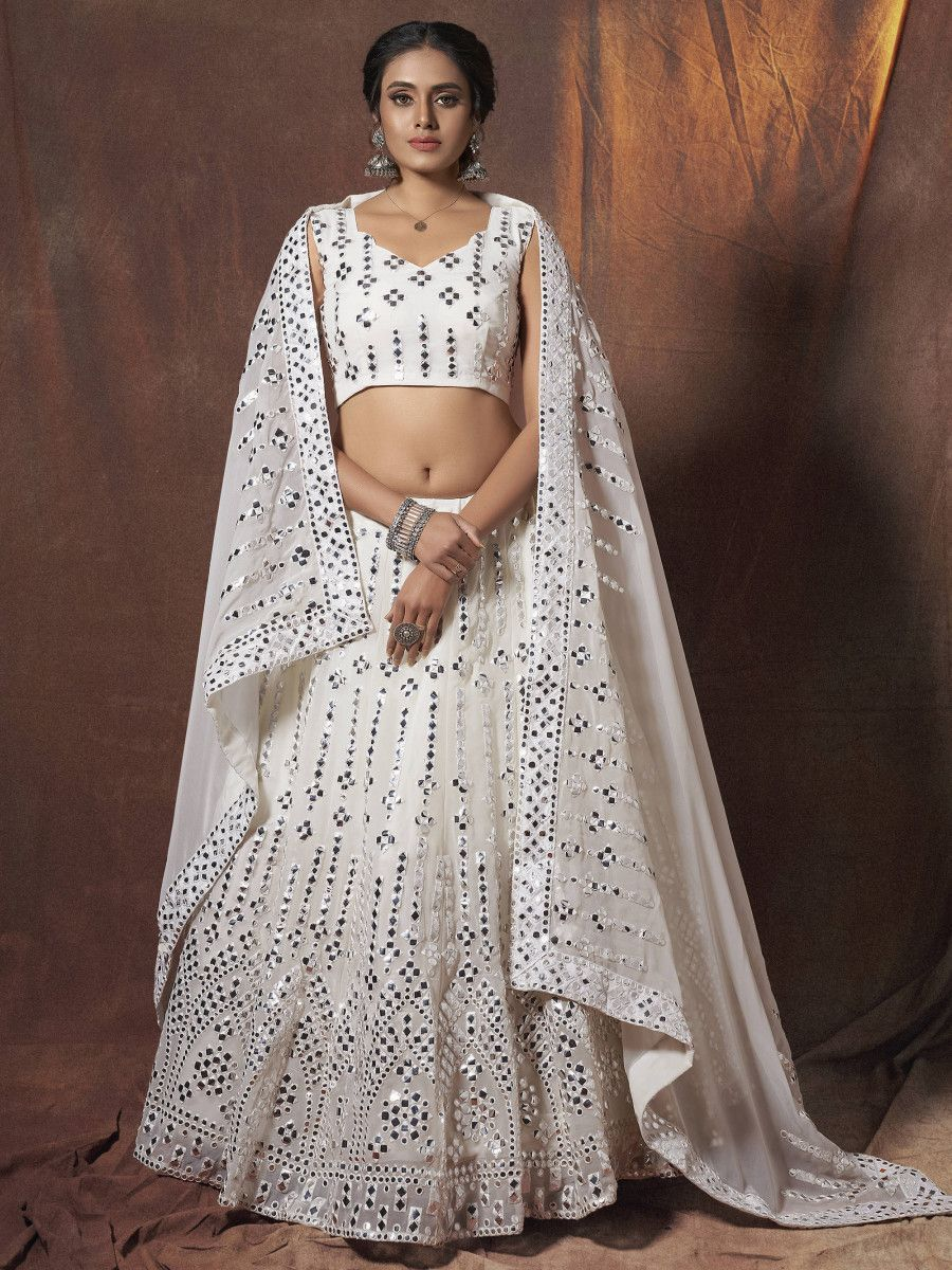 White Paper Mirror Work Georgette Party Wear Lehenga Choli