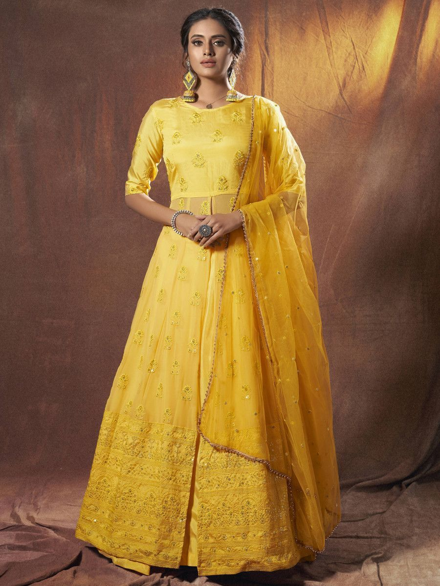 Yellow Lucknowi Georgette Party Wear Lehenga With Jacket Style Choli