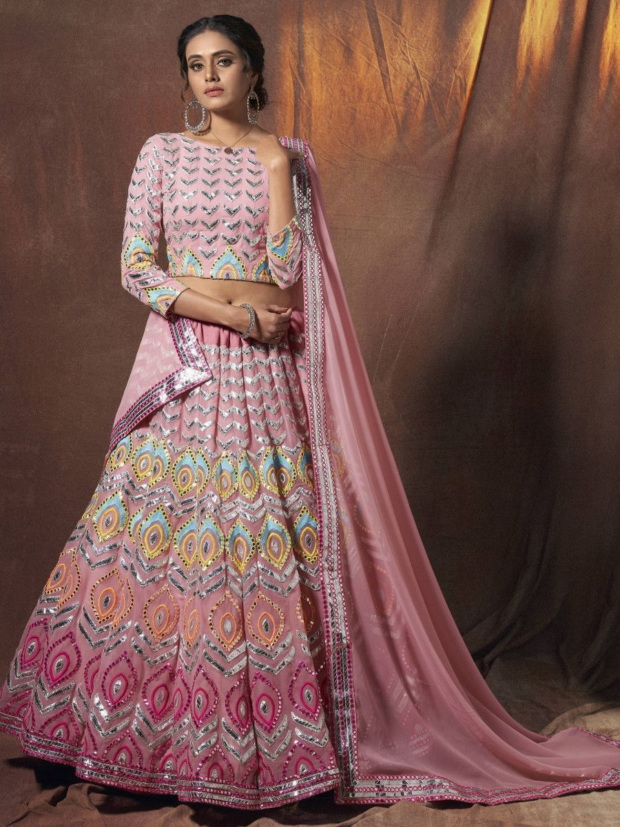 Peach Multi Thread Georgette Wedding Wear Lehenga Choli