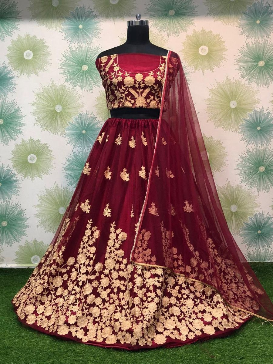 Maroon Thread Worked Heavy Net Festival Wear Lehenga Choli
