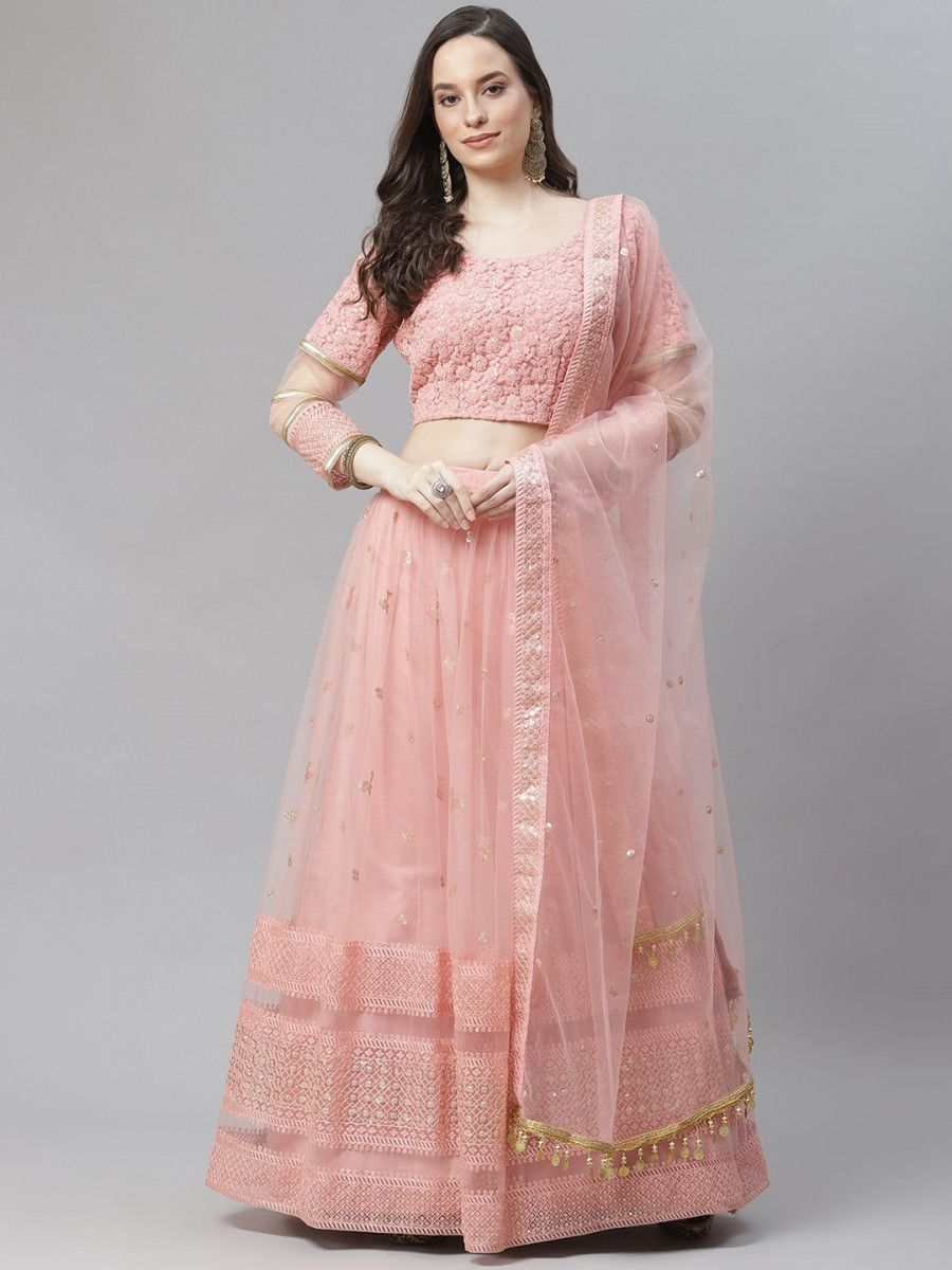 Pink & Peach-Coloured Embroidered Sequinned Semi-Stitched Myntra Lehenga & Blouse With Dupatta