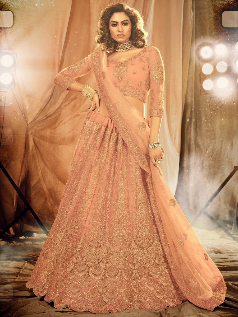 Peach Stone Coding Work Net Bridal Wear Lehenga Choli