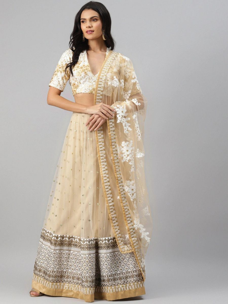 Beige & White Embroidered Semi-Stitched Mytra Lehenga & Unstitched Blouse with Dupatta