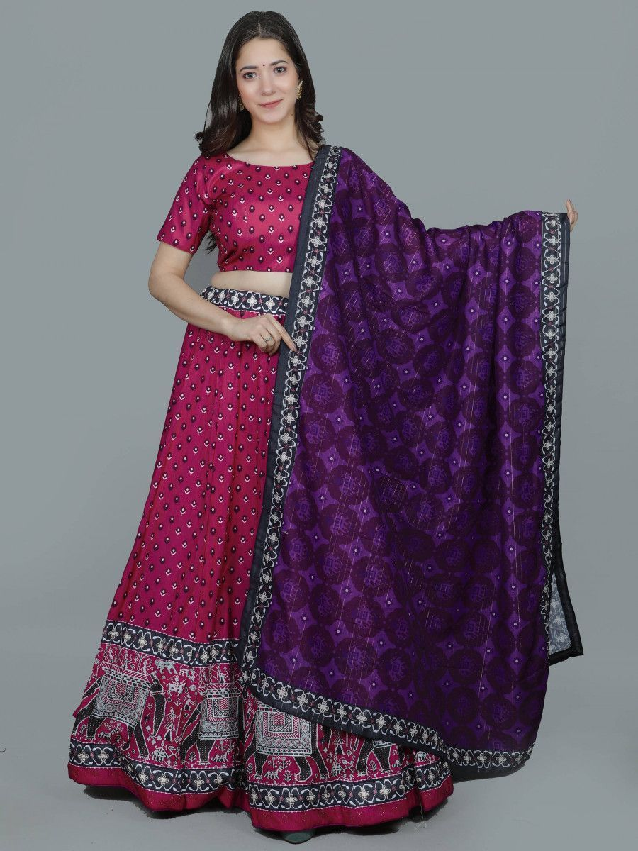 Pink Swarovski Printed Silk Festive Wear Lehenga Choli With Dupatta
