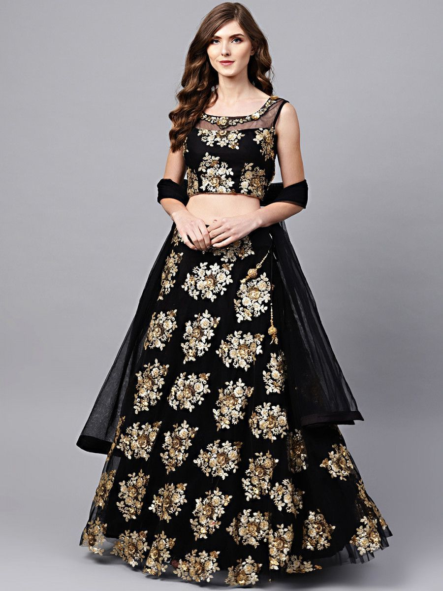 Black Floral Golden Sequins Work Net Fabric Party Wear Lehenga Choli
