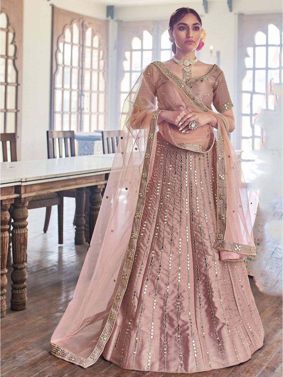 Rose Pink Hand Work Silk Wedding Wear Lehenga Choli