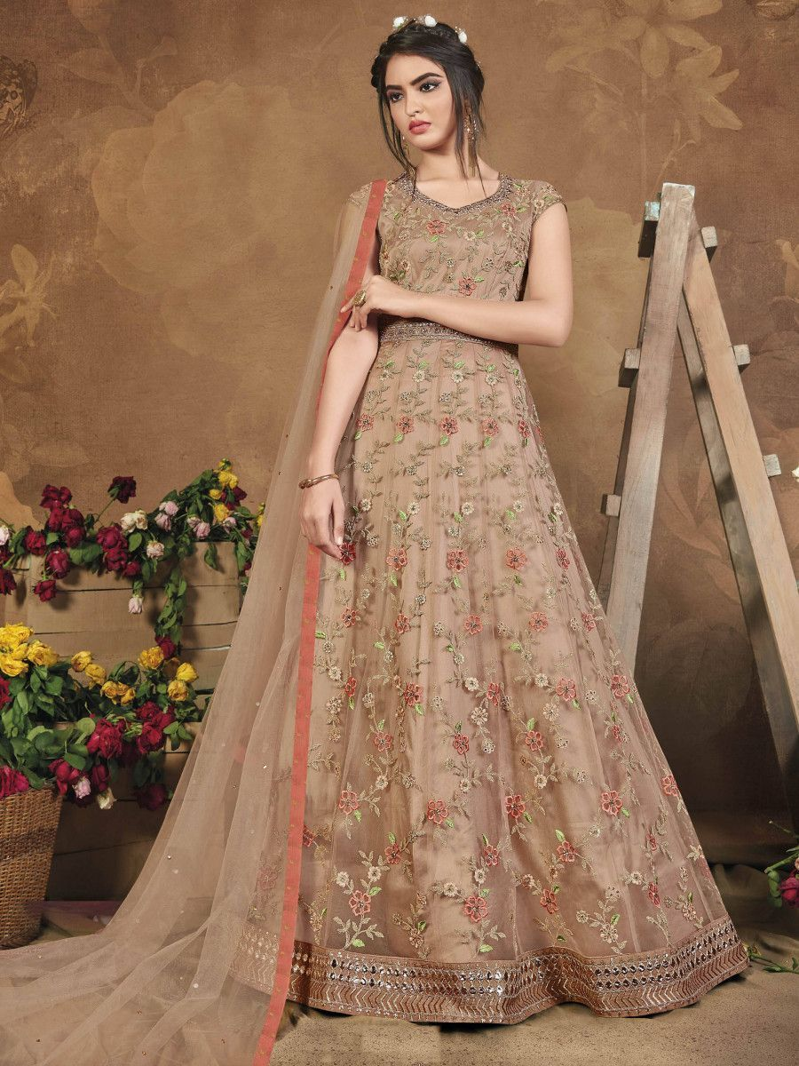 Light Brown Heavy Embroidered Net Party Wear Anarkali Long Gown