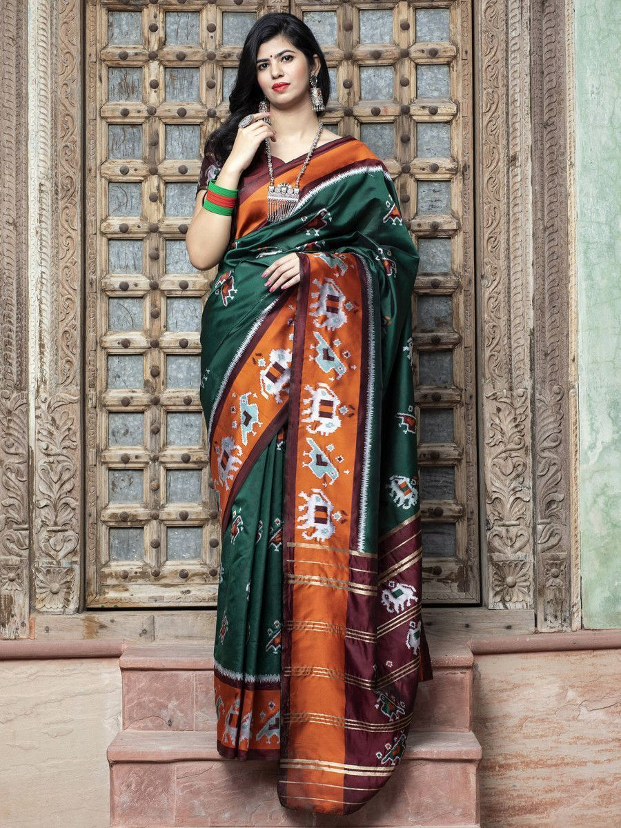 Dark Green Patola Silk Festival Wear Saree