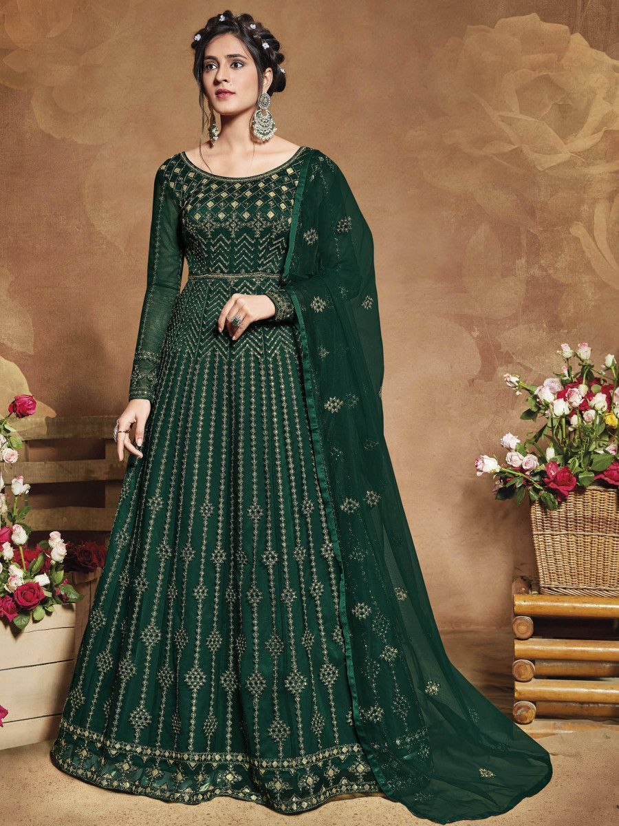 Green Heavy Embroidered Net Party Wear Abaya Style Gown