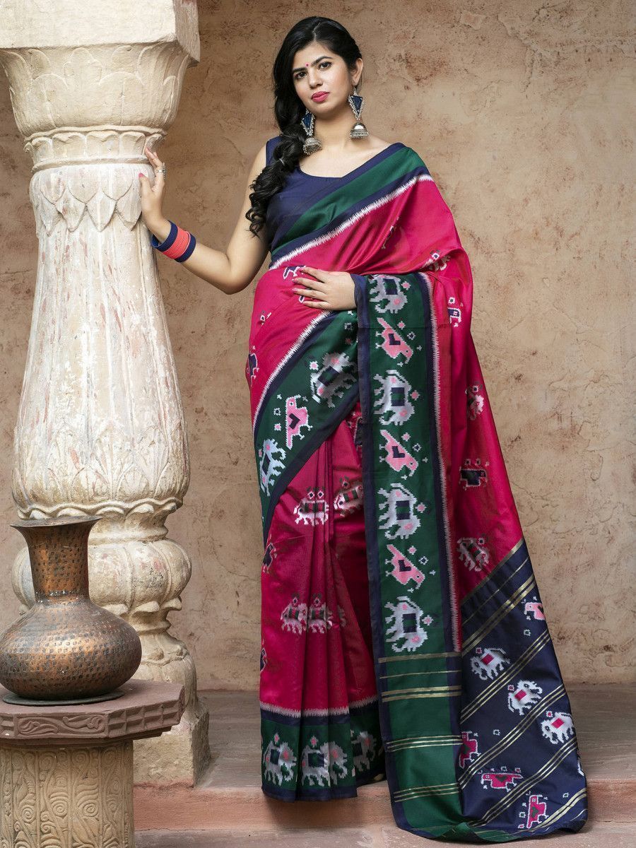 Pink Patola Silk Festival Wear Saree With Blouse