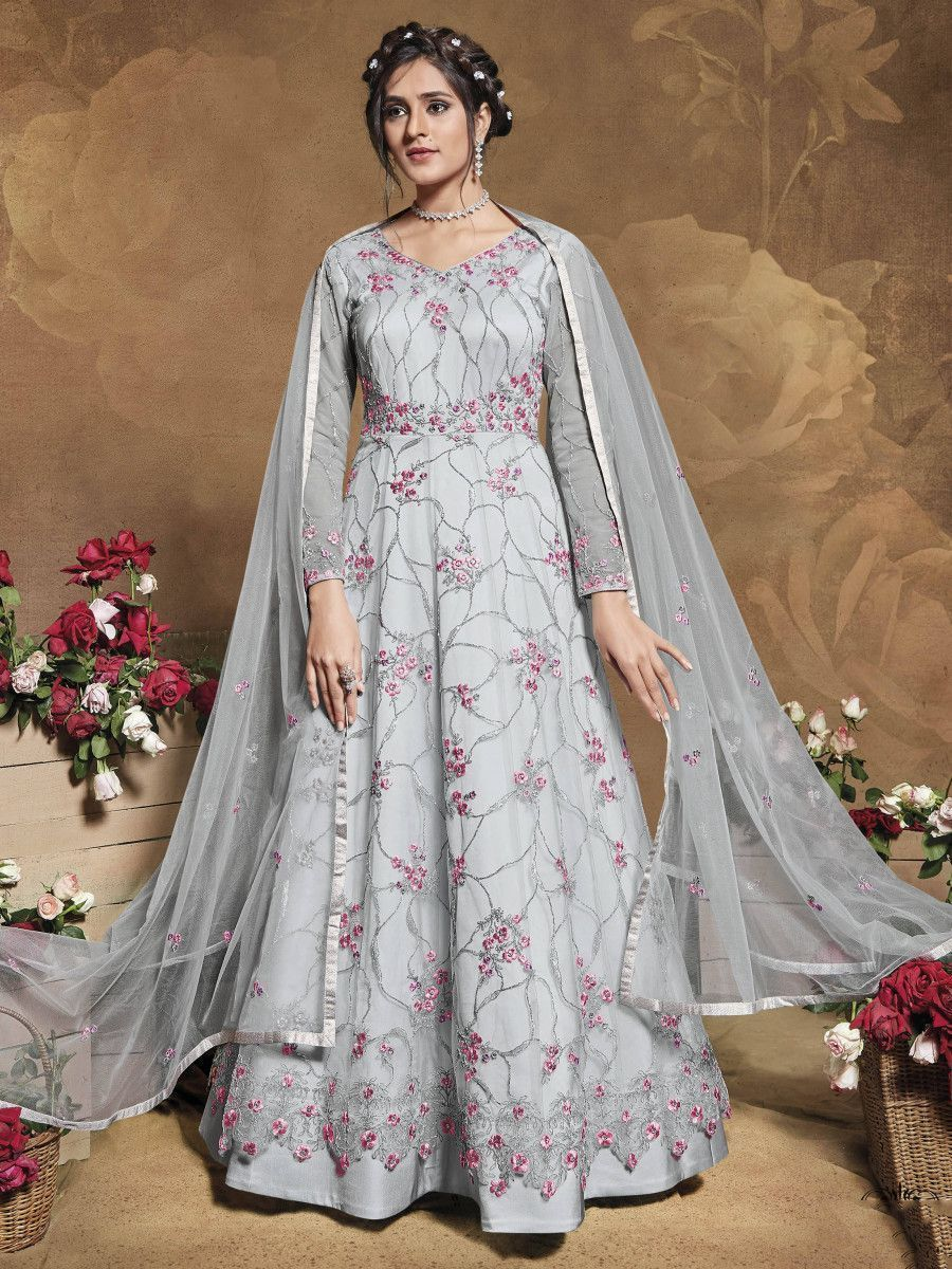 Grey Heavy Embroidered Net Party Wear Abaya Style Gown