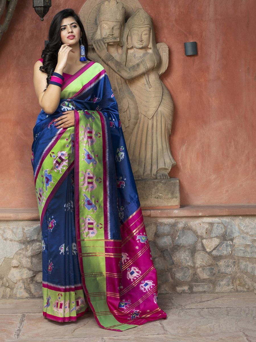 Royal Blue Patola Silk Festival Wear Saree With Blouse