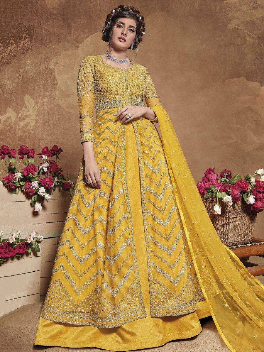 Yellow Heavy Embroidered Net Party Wear Abaya Style Gown