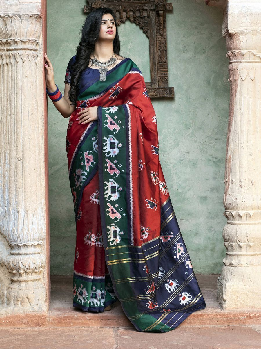 Red Patola Silk Festival Wear Saree With Blouse