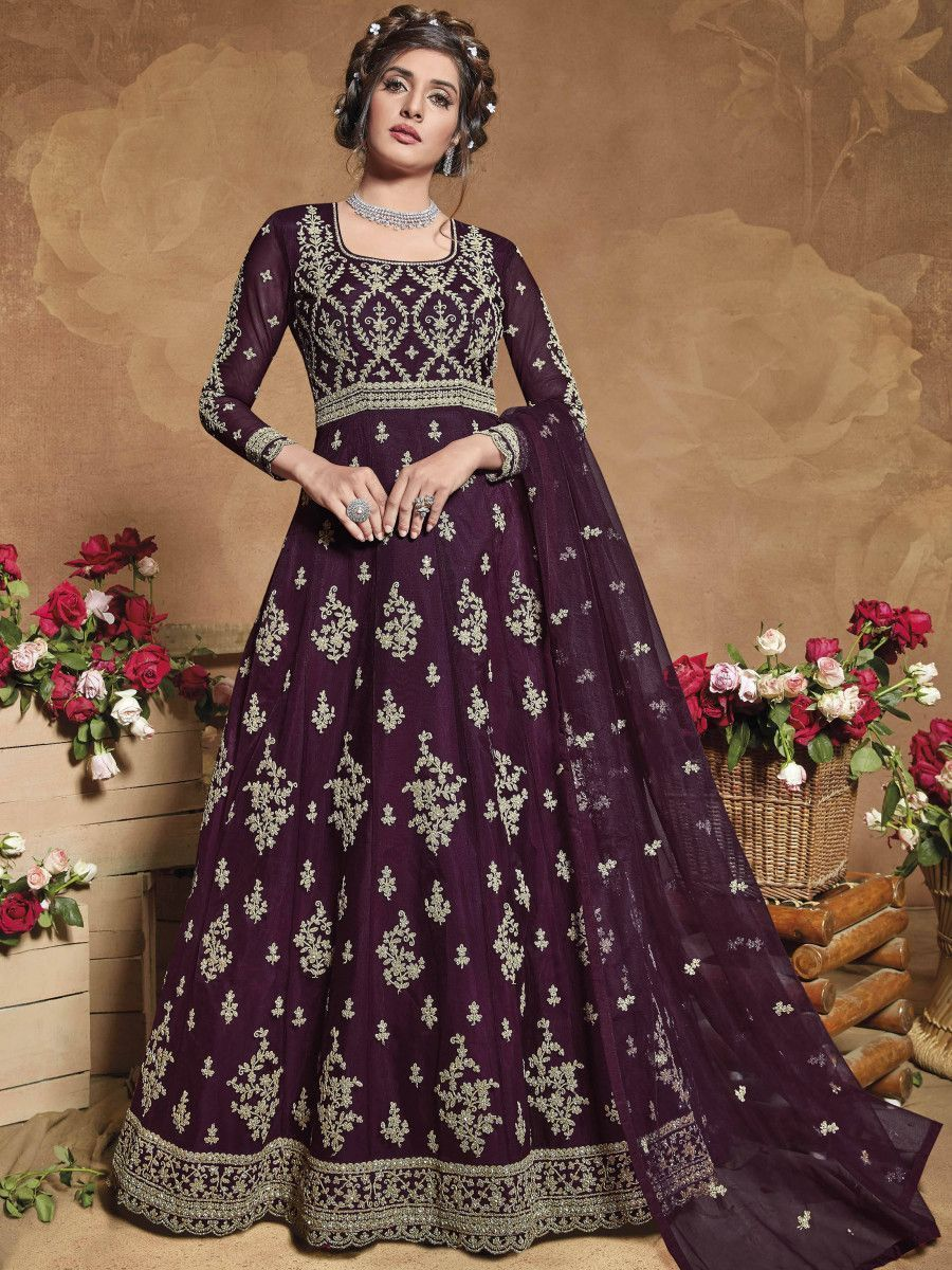 Wine Heavy Embroidered Net Party Wear Abaya Style Gown