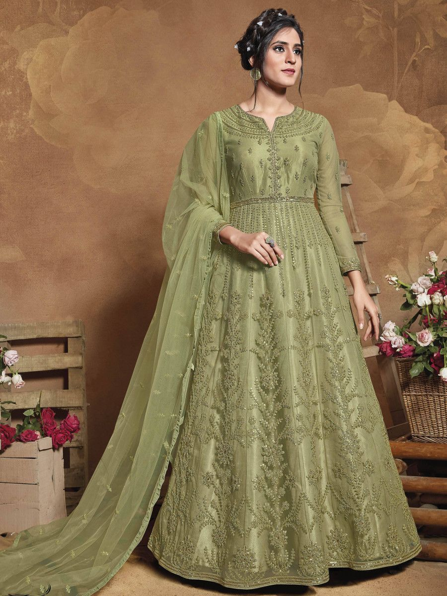 Green Heavy Embroidered Net Wedding Wear Abaya Style Gown
