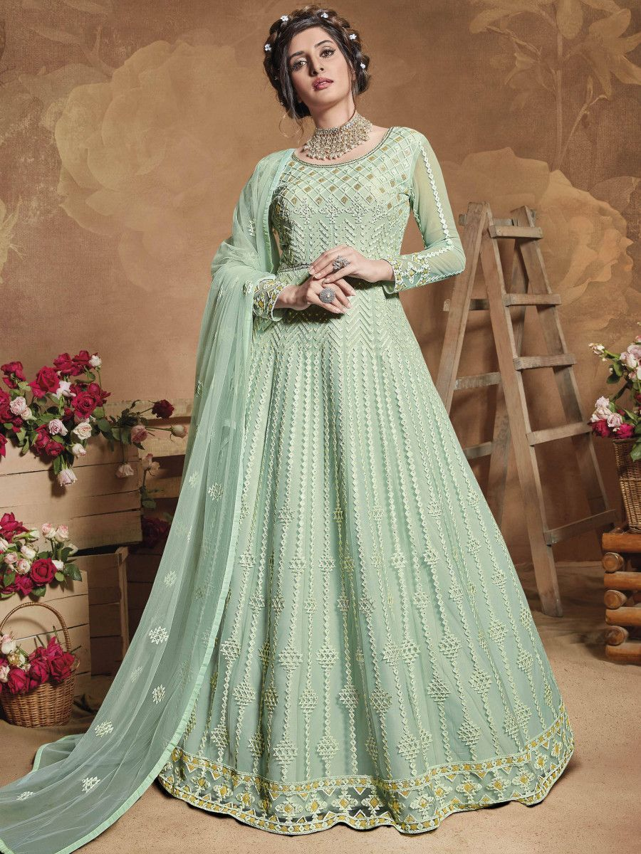 Pista Green Embroidered Net Party Wear Abaya Style Gown