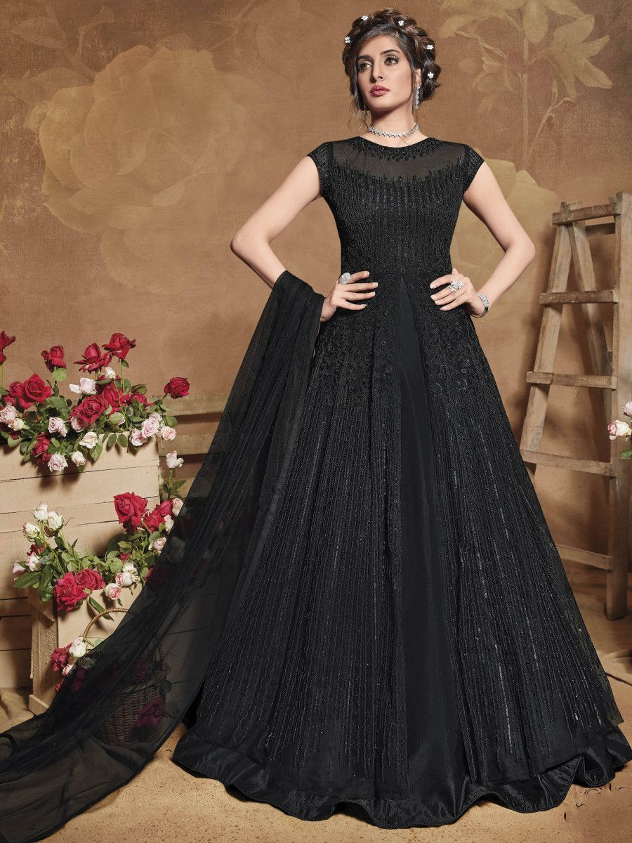 Black Heavy Embroidered Net Party Wear Long Anarkali Gown