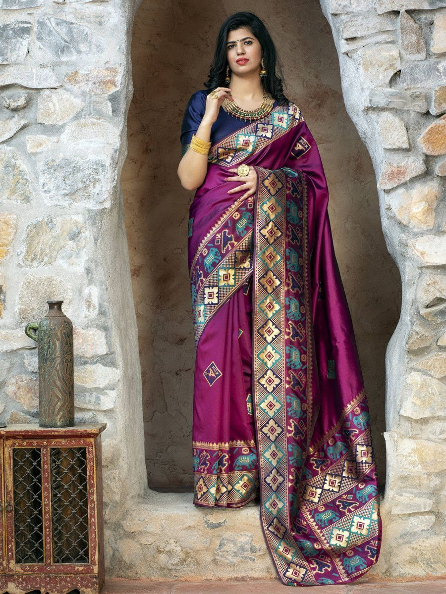 Purple Patola Weaving Silk Festival Wear Saree