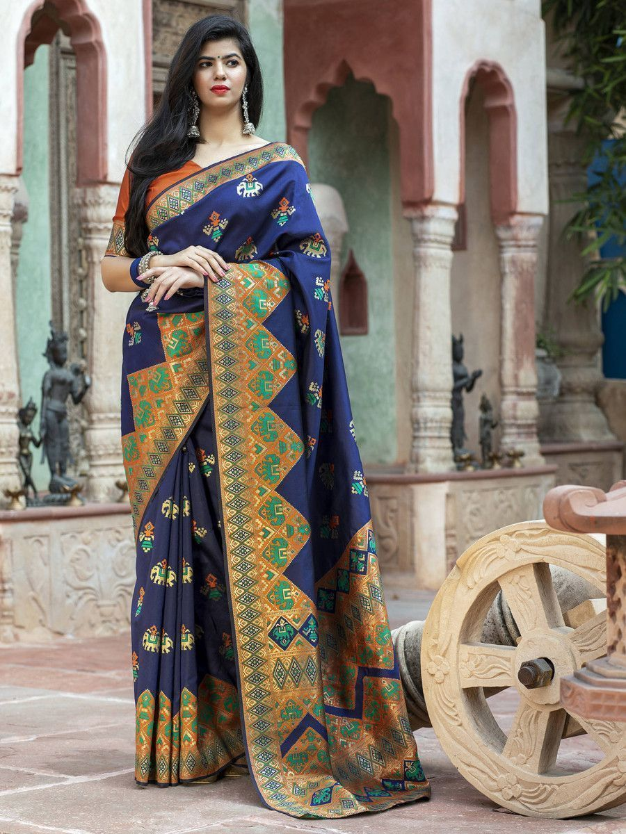 Navy Blue Patola Weaving Silk Festival Wear Saree