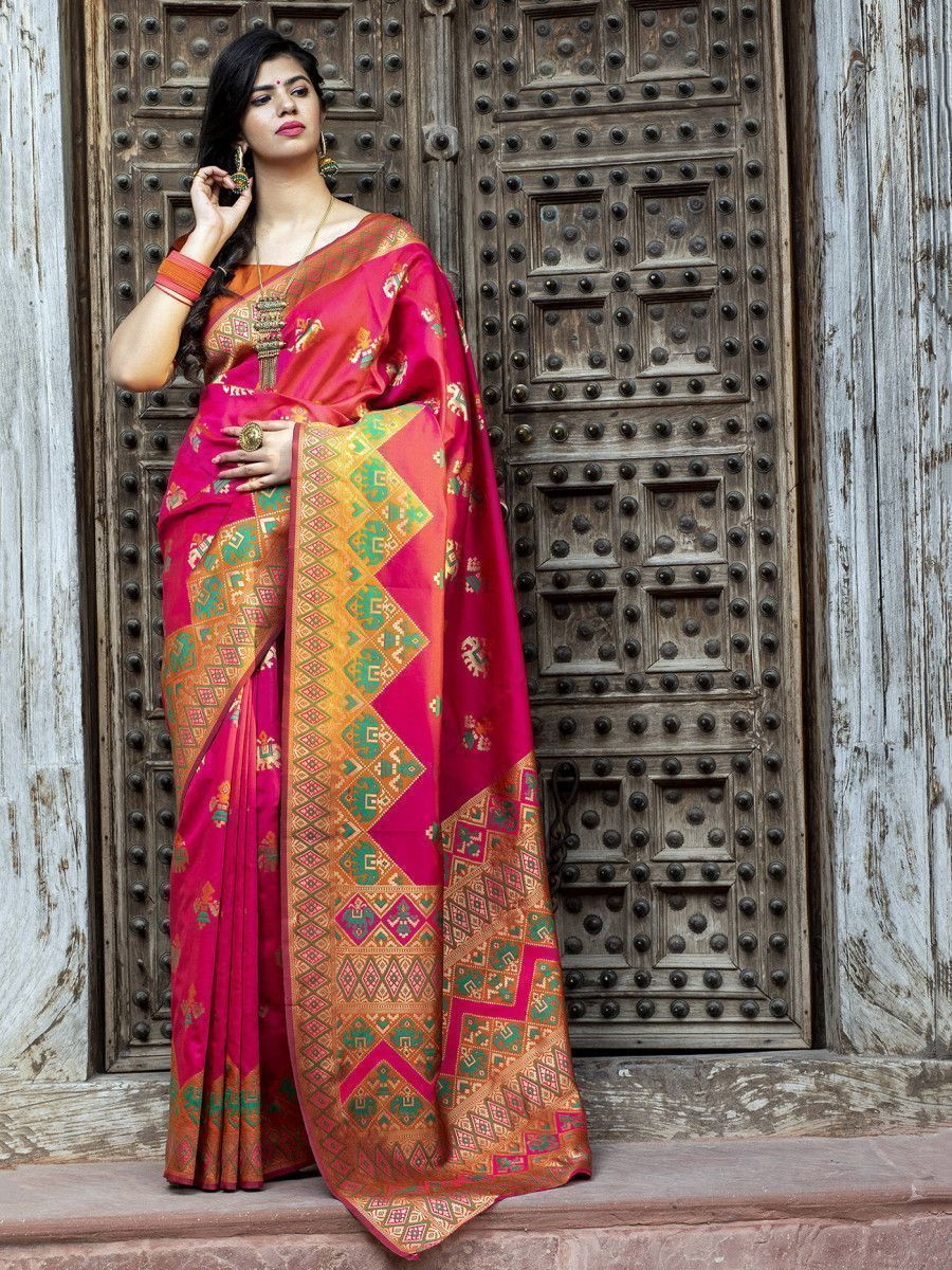 Pink Patola Weaving Silk Festival Wear Saree