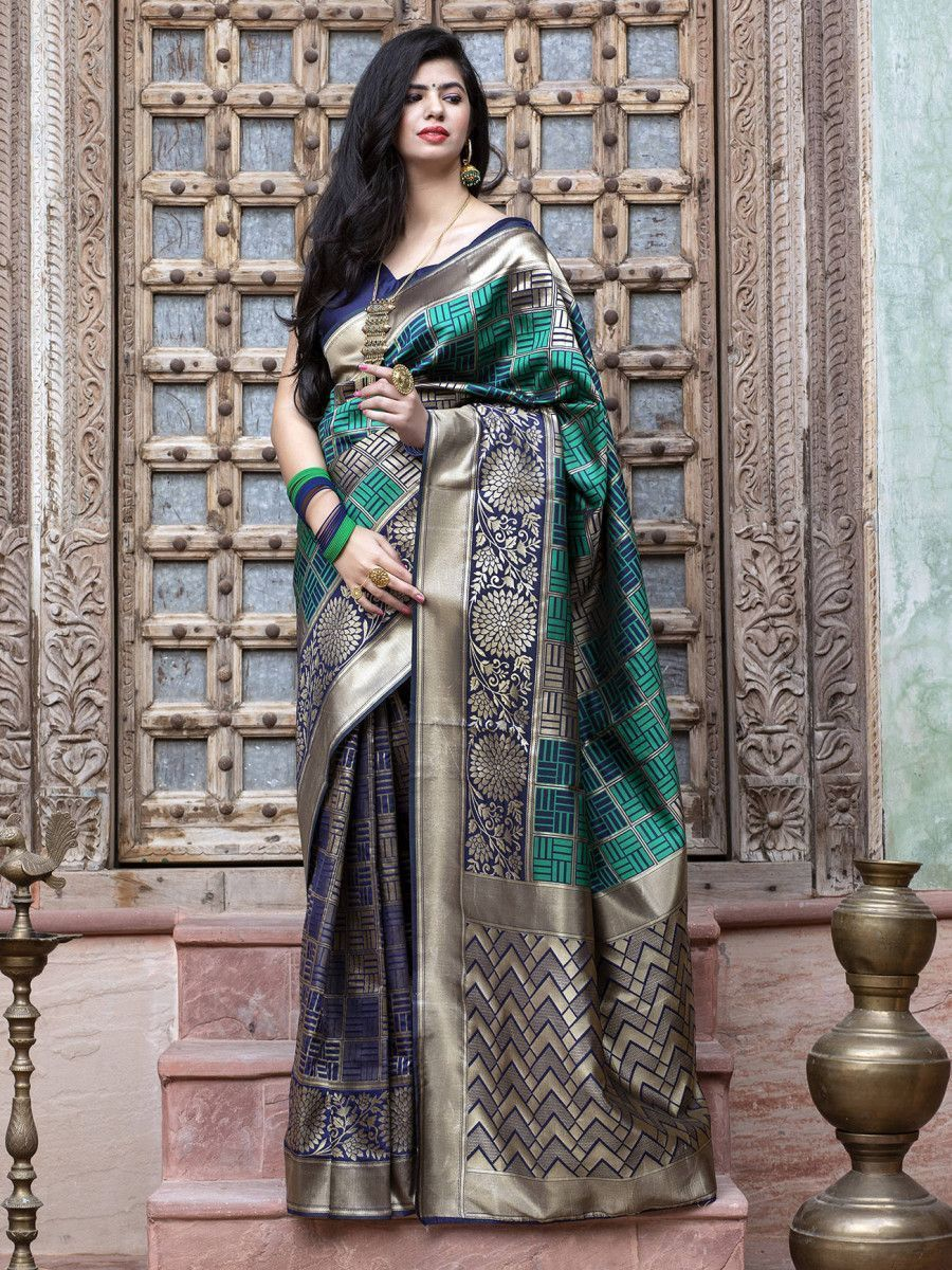 Green Weaving Banarasi Silk Festival Wear Saree