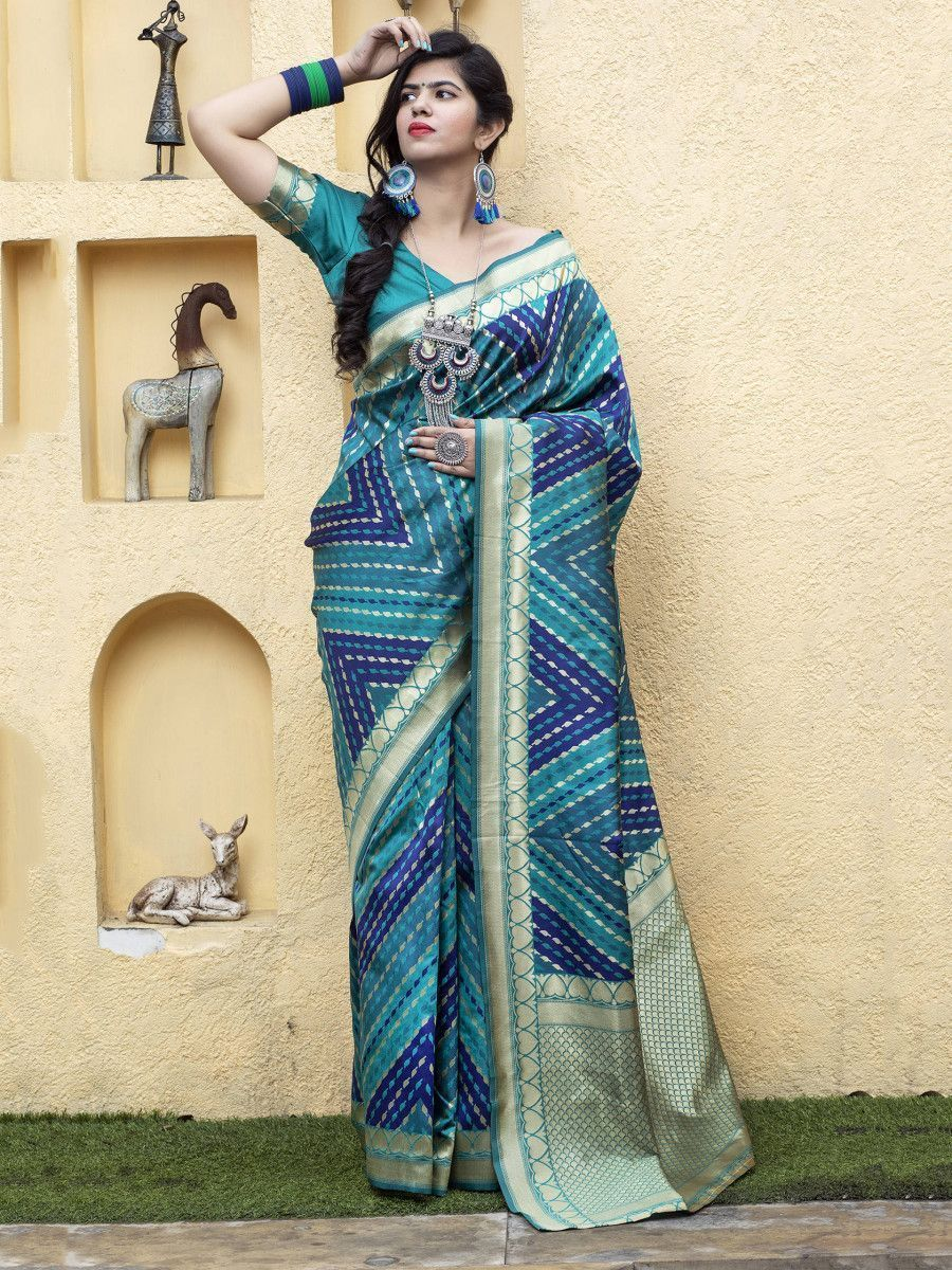 Blue Banarasi Silk Festival Wear Saree With Blouse