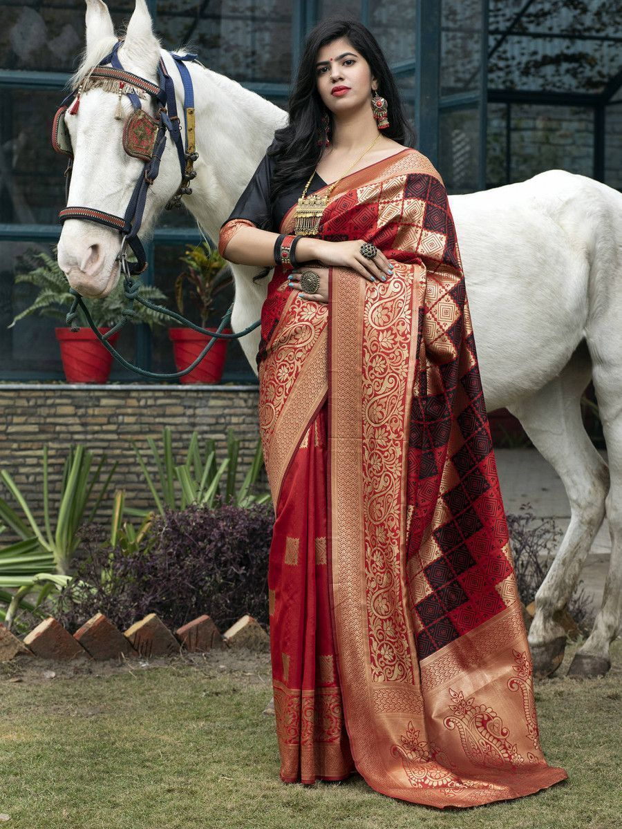 Red Banarasi Silk Festival Wear Saree With Blouse