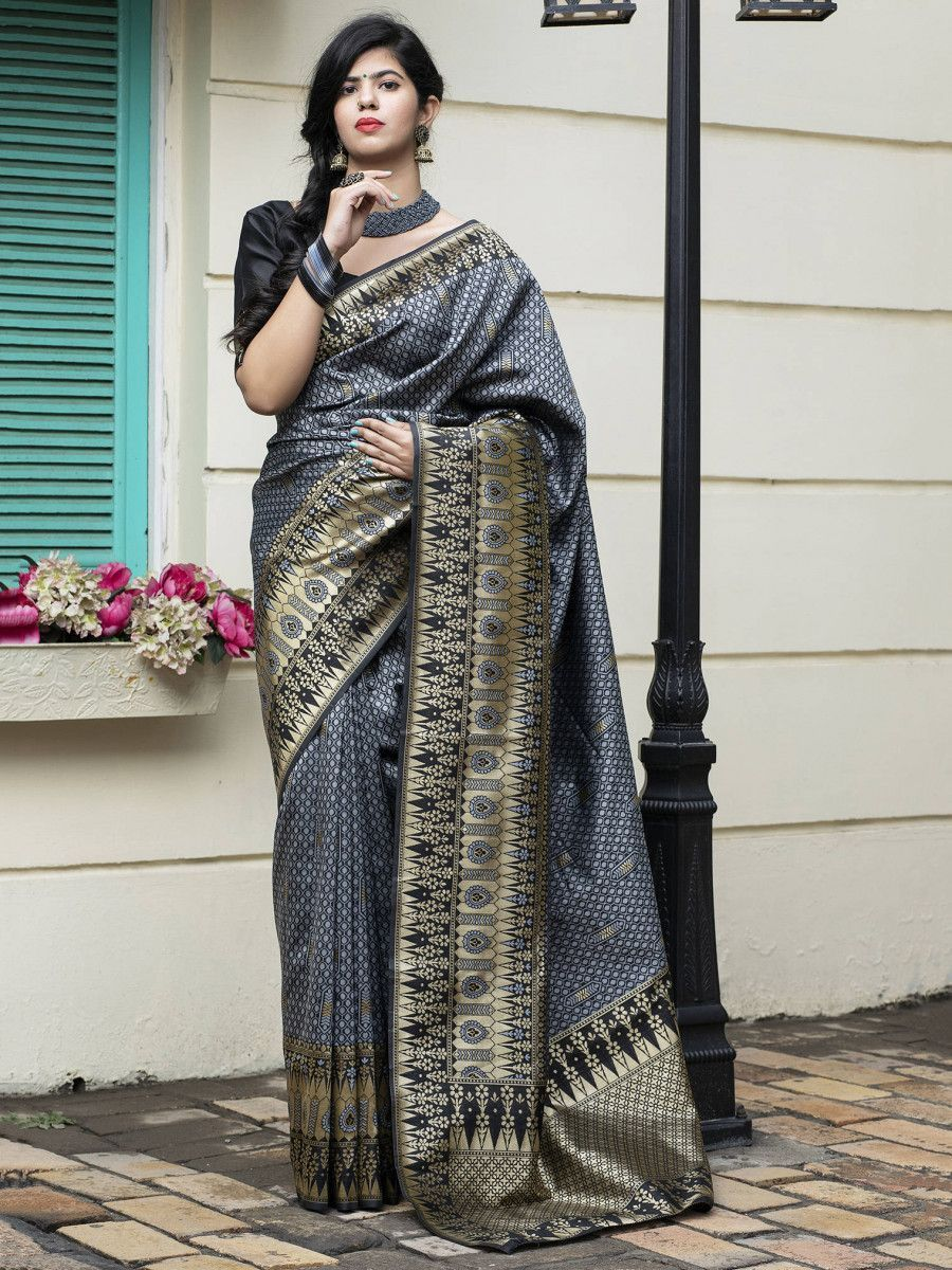 Grey Banarasi Silk Festival Wear Saree With Blouse