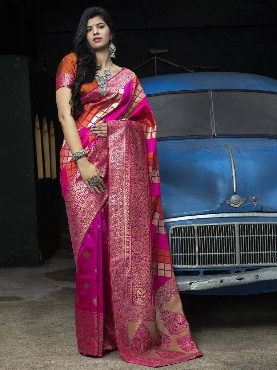 Pink-Orange Banarasi Silk Festival Wear Saree With Blouse