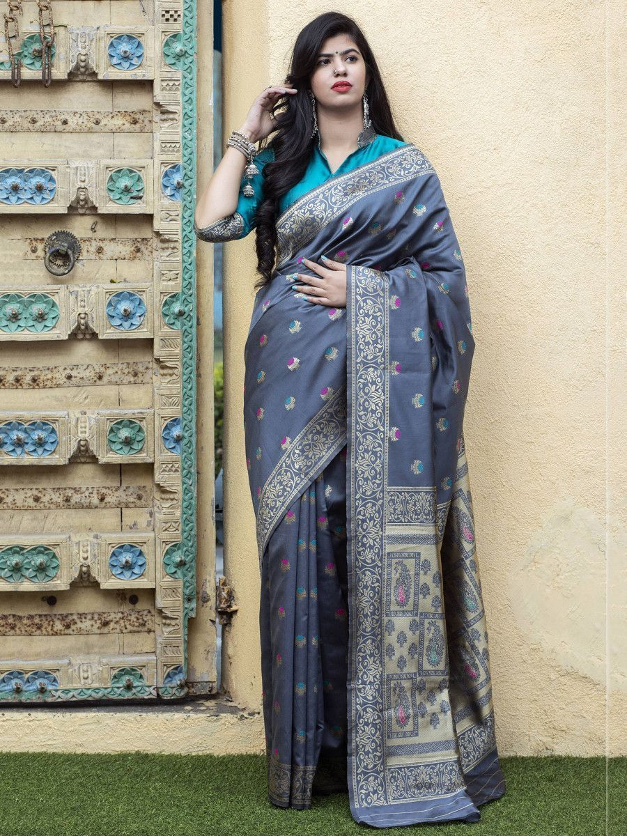 Grey-Blue Banarasi Silk Festival Wear Saree With Blouse