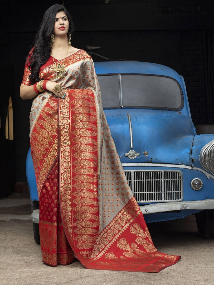 Red-Grey Banarasi Silk Festival Wear Saree With Blouse