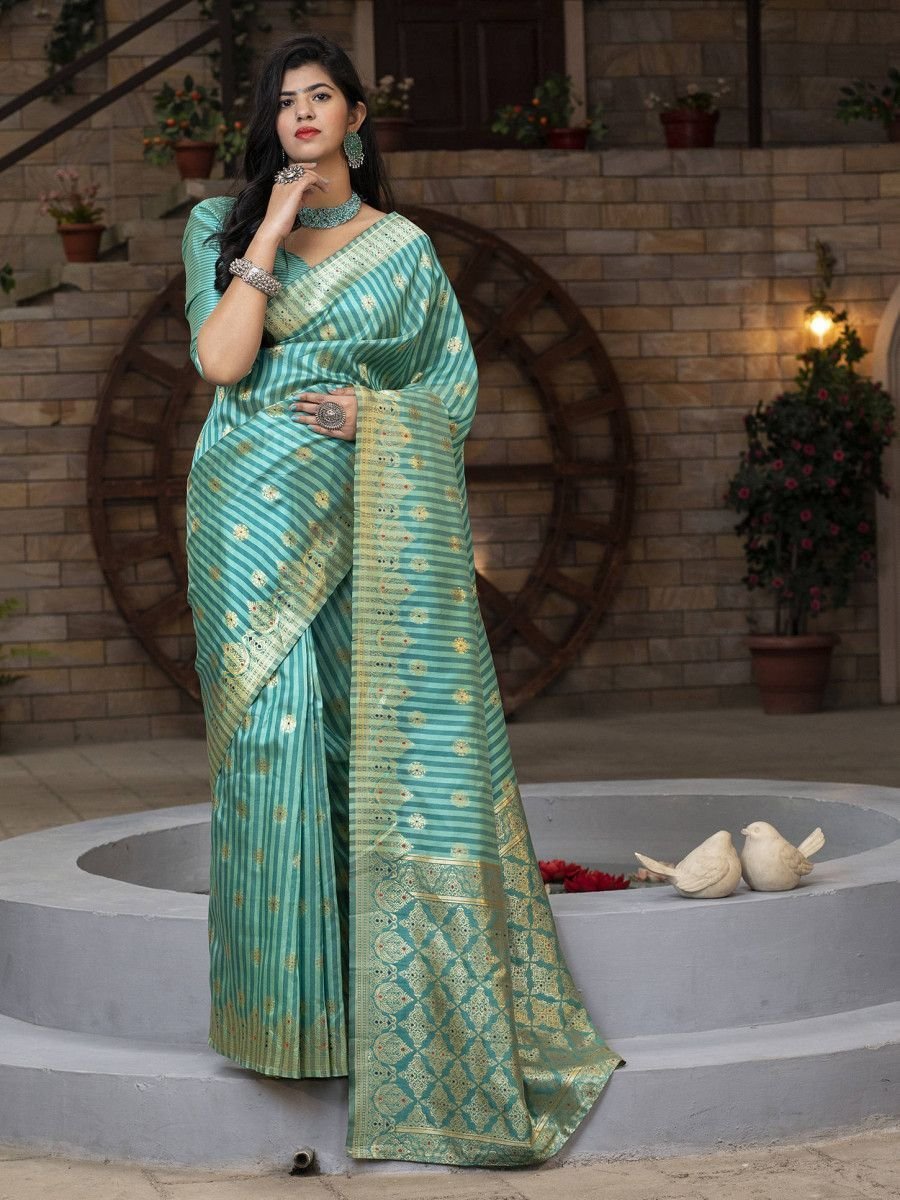 Green Striped Banarasi Silk Festival Wear Saree With Blouse